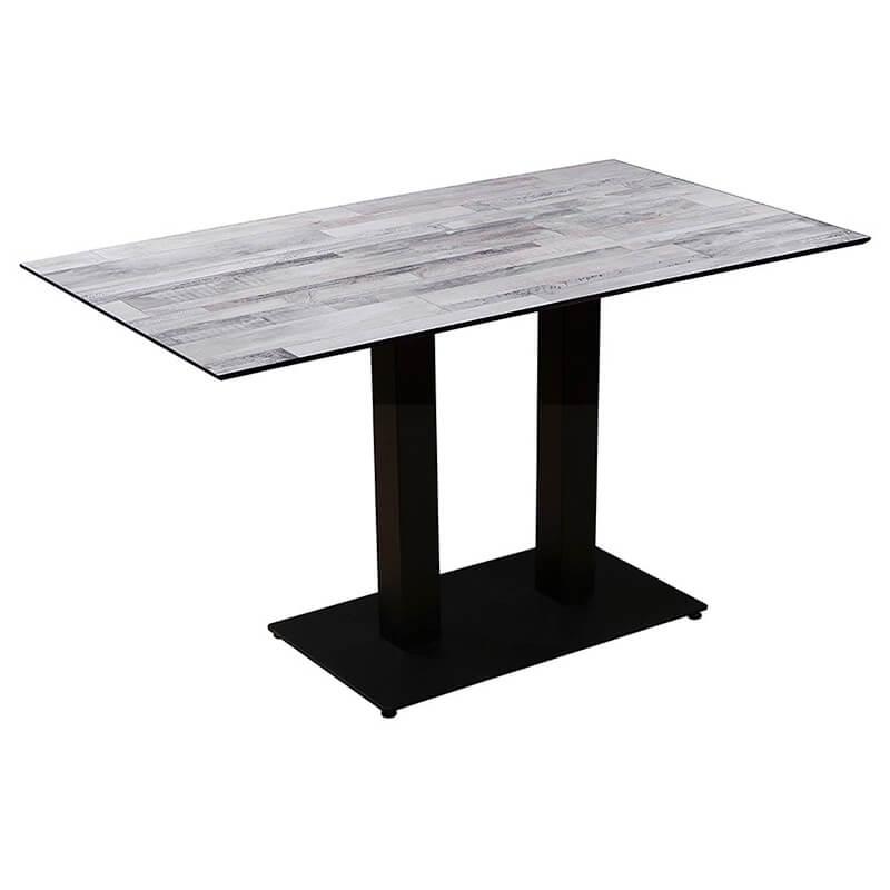 Horeca Tafel - Compact Wit Blok - 69x120 Cm Met Onderstel