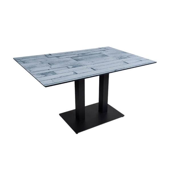 Horeca Tafel - Compact Wit Blok - 69×120 Cm Met Onderstel